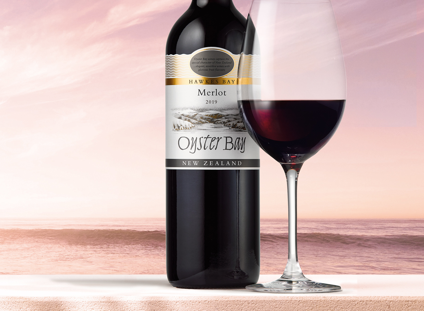 2019 oyster bay hawkes bay merlot bottle glass ledge