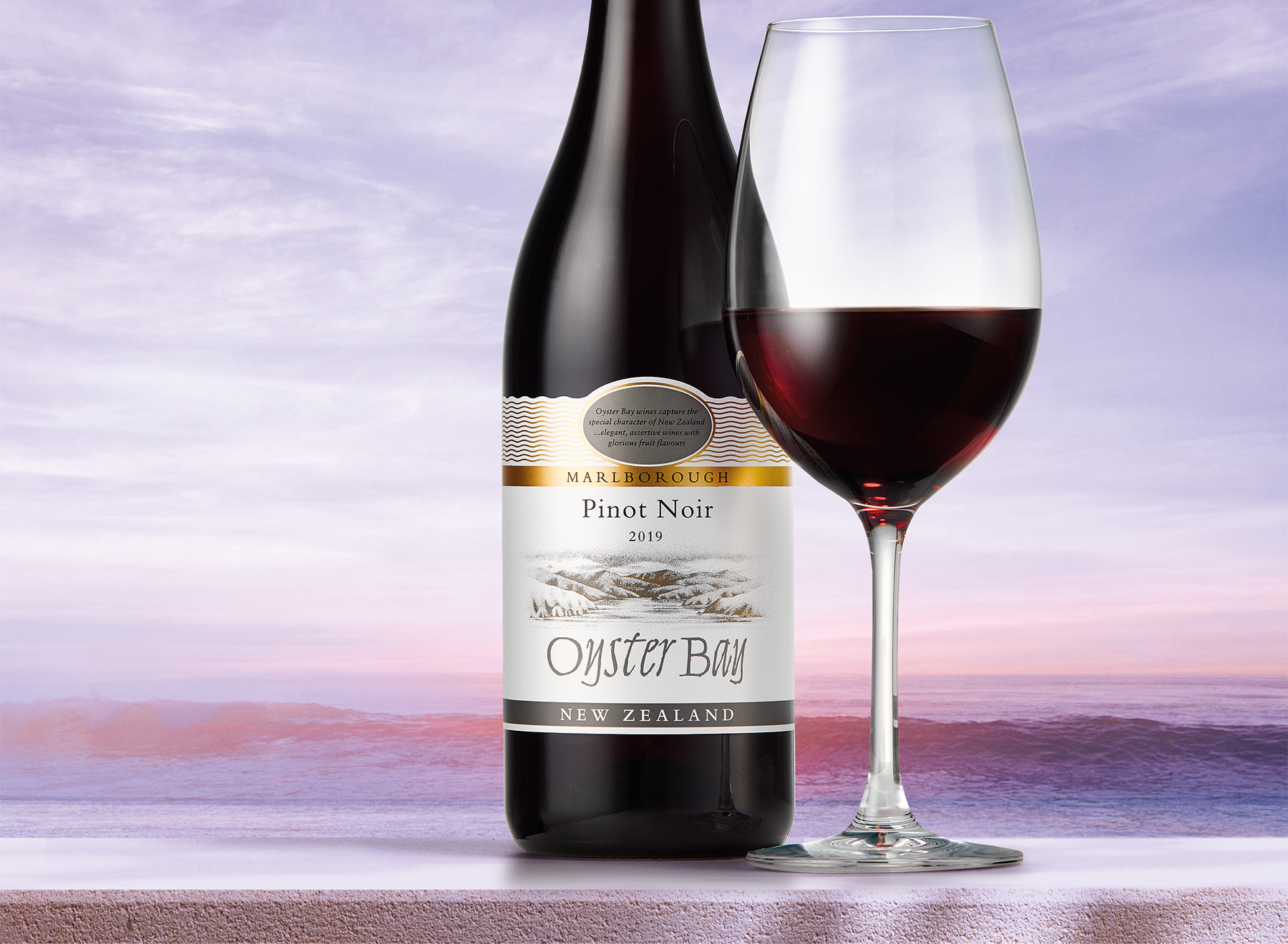 2019 oyster bay marlborough pinot noir bottle glass ledge