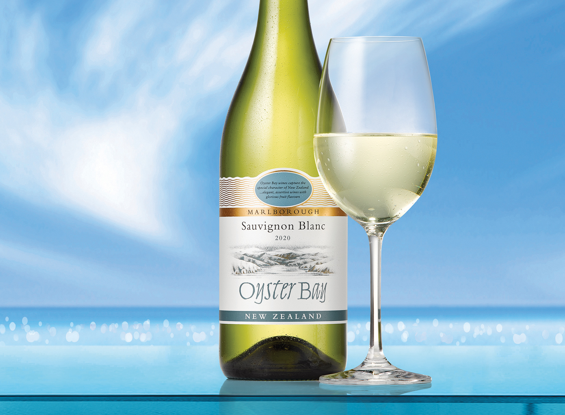 2020 oyster bay marlborough sauvignon blanc bottle glass ledge